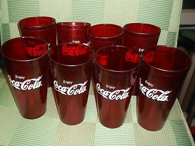 8 Red Coca-Cola Glasses / Tumblers Textured 20 oz Plastic Coke Glasses #6624