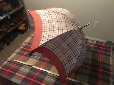 Antique 1940S? CHILDS UMBRELLA Cotton All Wood Handle WORKS PERFECTLY