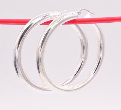 Ladies Classic 925 Sterling Silver 2inch/50mm Large Hollow Tube Hoop Earrings E6 Edelmetall ohne Steine