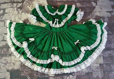 Best VINTAGE Layered Lace Full Skirt Green Christmas Toddler Little Girls Dress