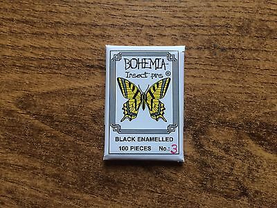 Bohemia black mounting insect pins 100pcs size 3 entomology butterflies beetles