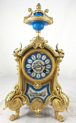 Antique French Japy Freres 19th c mantle clock with beautiful Sevres porcelain
