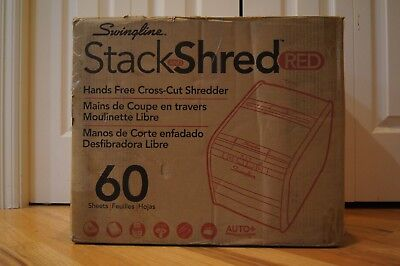 Auto Feed Paper Shredder 60 Sheets Cross-Cut 1 User Stack-and-Shred 60X Red