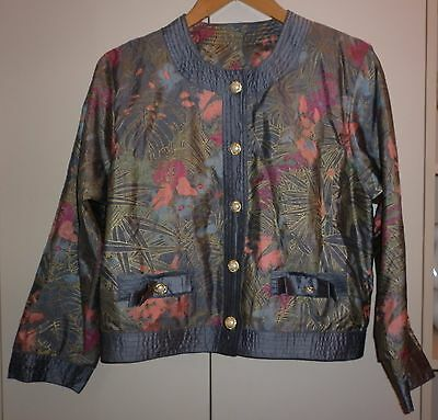 Vintage Thai Gilded Floral Silk Jacket Size 12 In Excellent  Condition
