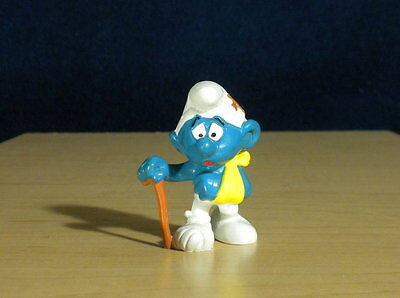 Smurfs Injured Clumsy Smurf Vintage 1978 Figure Schleich Display Toy Peyo 20097