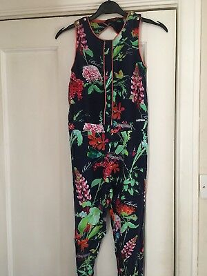 Ted Baker Navy Tropical Floral Playsuit*Age 9-10*VGC