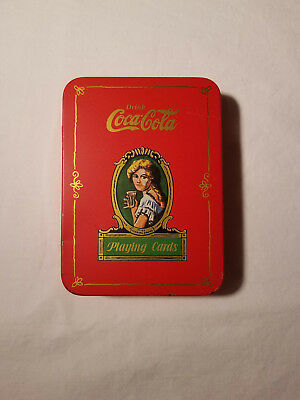 Vintage 1980 Coca Cola Playing Cards Decorative Tin Excellent Condition Tin Only