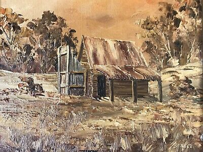 Vintage Framed Oil Painting Old Miners Hut Snowy Mountain Cooma H. Bendler  1976