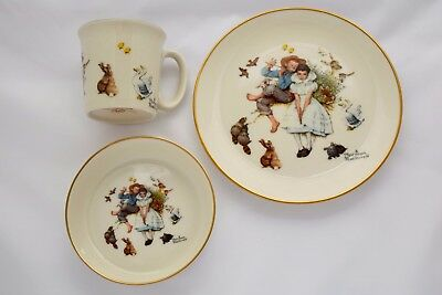VINTAGE NORMAN ROCKWELL CHILD'S 3 PIECE CHINA SET SPRING DUET Cup, Bowl, Plate