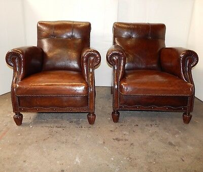A Pair of Original Authentic 1940's French Art Deco Leather Club Chairs