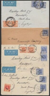 CEYLON 1930's KGV COVER & FRONTS (x3) (ID:565/D47444)