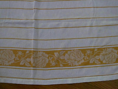 Antique Cheddar Orange Stripe Border Damask Tablecloth~Cotton Woven 48x54