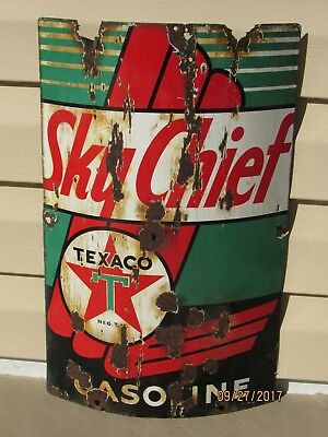 Old 1940 Texaco Sky Chief Gasoline Pump Sign For Round Pump