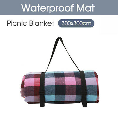 3X3 X-Large Picnic Camping Blanket Cashmere Rug Waterproof Mat Outdoor Garden AU