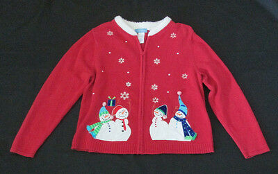 Classic Elements Ugly ? Christmas Sweater Size XL Red w/ White Trim & Snowmen