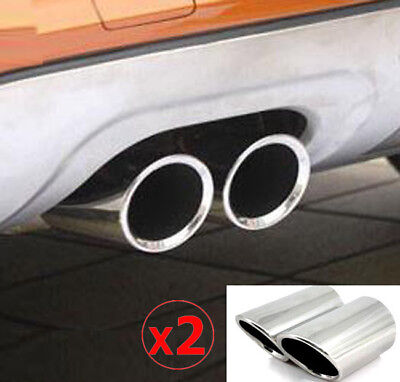 2pc 80mm Rear Exhaust Tailpipe Tip For Audi Q3 Cover Silencer Muffler End Trim