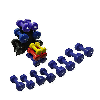 PVC Dumbell 1-2-3-4-5-6-7-8-9-10kg & Dumbbell Weight Set Free Rack for Set