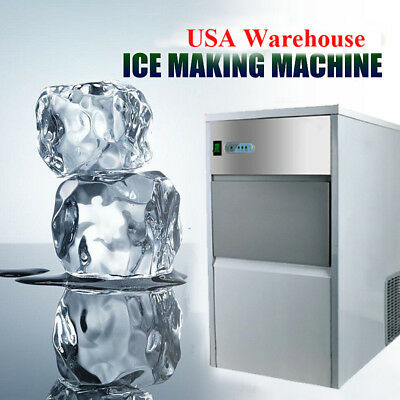 25kg Auto Commercial Ice Maker Cube Machine Stainless Steel/Bar/55Lbs/240W/110V