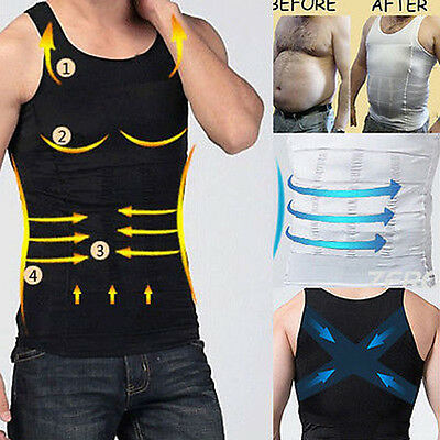 AU MENS Body Slimming Compression Vest Shirt Body Shaper Belly Tummy Trimmer