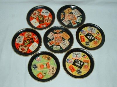 """7 Vintage Coasters Paper Mache """"MADE IN JAPAN ALCOHOL PROOF"""" CELEBRATE Drink Bar"""