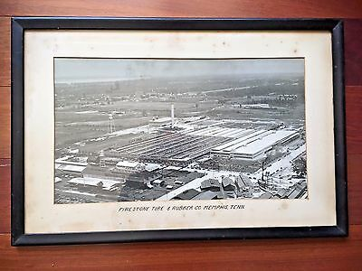 Vtg Firestone Tire & Rubber Co. Aerial View Of Plant Memphis Tenn. Framed Photo