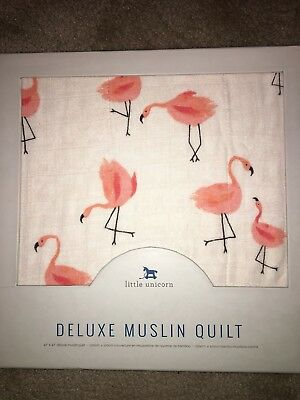 Little Unicorn muslin quilt for crib Pink Flamingo Anthropologie Price reduced!