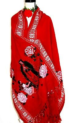 Vtg Red Pashmina Virgen Guadalalupe Shawl Chal Rebozo Pareo Table Runner Mexico