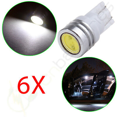 6x White T10 194 158 LED Wedge Interior Step Map Dome Bulbs License Plate Light