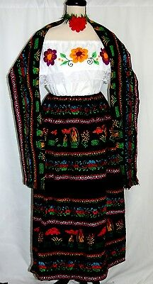 Vtg Mexico Dress 3 pc Virgen Guadalupe Floral Hand Embroidery Blouse/Skirt/Shawl