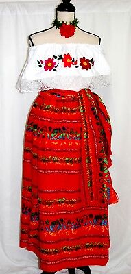 Vtg Dress 3 pc Folkloric Floral Hand Embroidery Blouse/Skirt/Shawl Viva Mexico
