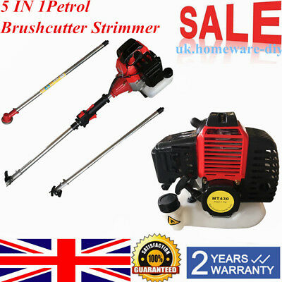 43cc Garden Hedge Trimmer 5 in 1 Petrol Strimmer Chainsaw Brushcutter Multi Tool