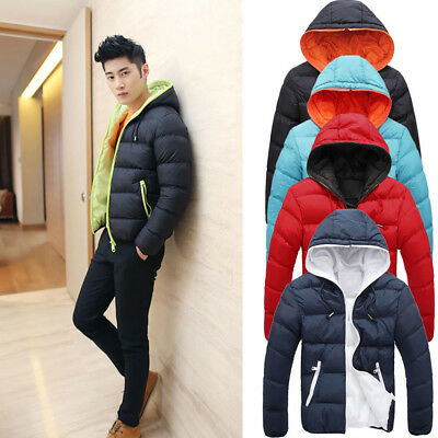 Men's Slim Casual Warm Jacket Hooded Winter Thick Coat Parka Overcoat Outerwear