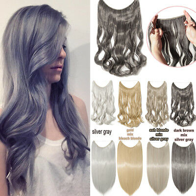 """Secret Headband Flip in Wire Hair Extensions 20"""" Curly Straight Grey Hairpieces"""