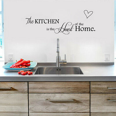 Kitchen Is the Heart of Home Wall Stickers Quote Removable Tile Wall Decals DIY