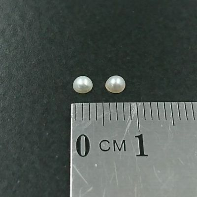 2.75 - 3.0mm Round Natural Half Seed Pearls x2 - Free Post