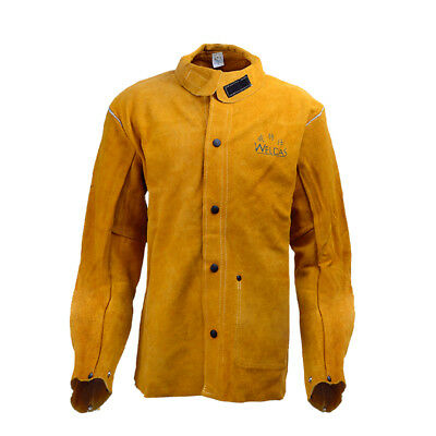 Yellow Flame-Resistant Heavy Duty Leather Welding Jacket Welding Apparel L