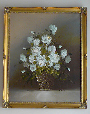 Large Original Signed Floral Oil Painting on Canvas in Ornate Gilt Wooden Frame