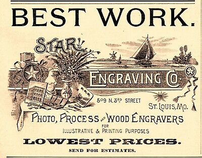 1890 Star Engraving Company. St Louis, Missouri Printer Advertisement