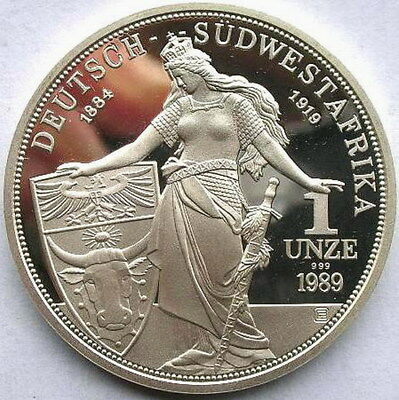 Namibia 1989 80 Years of South-West African 1oz Silver Coin,Proof,Rare!