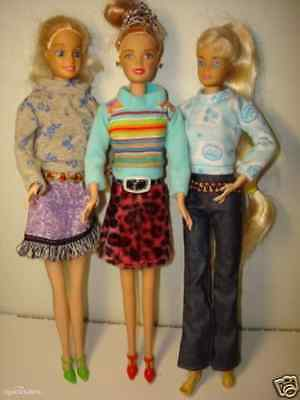 3 Popular Barbie Doll sized Casual Clothes+3 pair of shoes-good Xmas gift 4 girl
