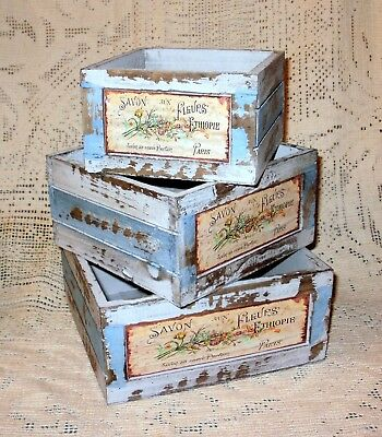 """NEW~French Country Flower Market Weathered Wood Soap Box Crate 6.25"""" SQ"""