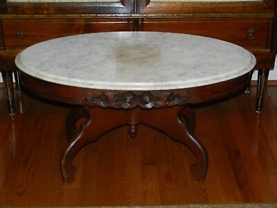 Vtg Antique Victorian Style Coffee Table With Italy Made Marble Top