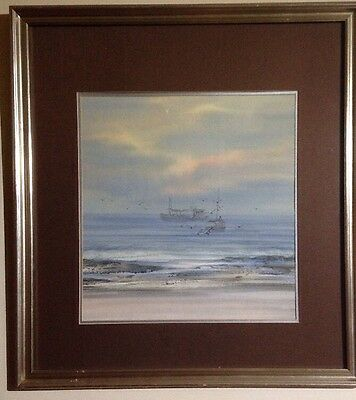 Framed Original Watercolour Painting Depicting An Attractive Coastal Scene.