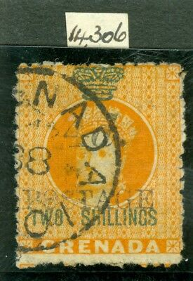 SG 42a Grenada 1888 4d on 2/- orange variety 'two' & 'shilling'.Very fine used..