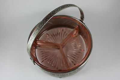 Pink Depression Glass Divided Candy / Relish Dish w Handled Caddy