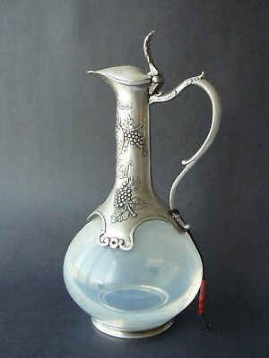 "Vintage Crystal & Tin Decanter by La Maison de l""Etain Grape Motif Beautiful!"