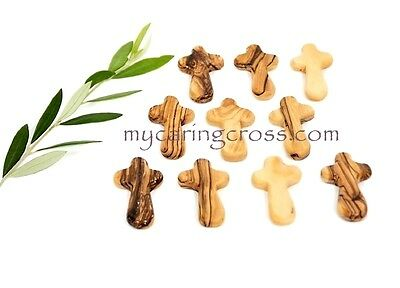 25 SMALL Pocket Holding size Comfort Crosses Made of Genuine Olive Wood Gift
