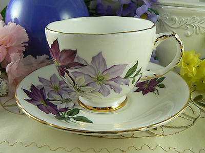 Vintage Delphine Lilac Purple Clematis Cup and Saucer Set Bone China England