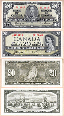 1954 $20 Bank of Canada Devils Face QE2 VF/EF & 1937 $20 KGVI in AU+