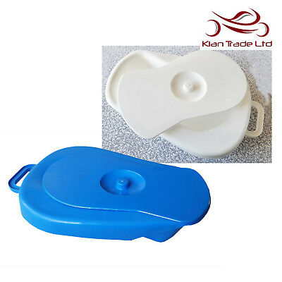 Adult Bed Pan Lid Blue White Bedpan Plastic Toilet Bedroom Night Medical